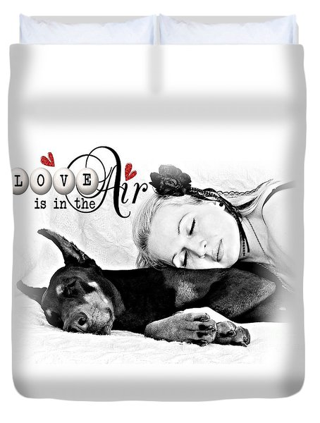 Duvet Cover featuring the digital art Love Is In The Air by Kathy Tarochione