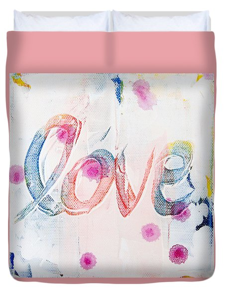 Duvet Cover featuring the painting Love by Jocelyn Friis
