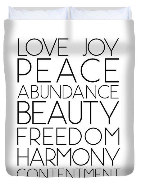 Love Joy Peace Beauty Virtues Duvet Cover
