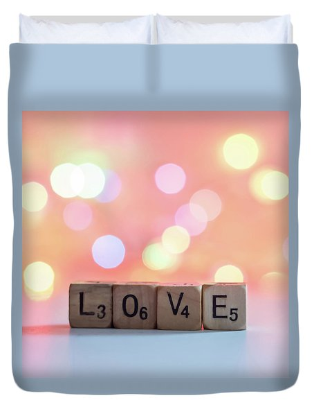 Love Lights Square Duvet Cover by Terry DeLuco