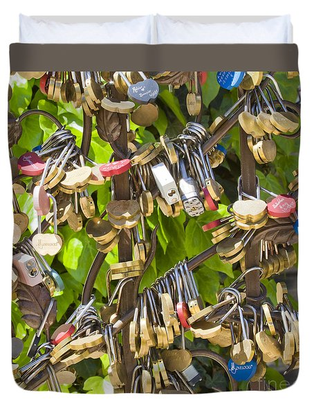 Duvet Cover featuring the photograph Love Locks Square by Chris Dutton