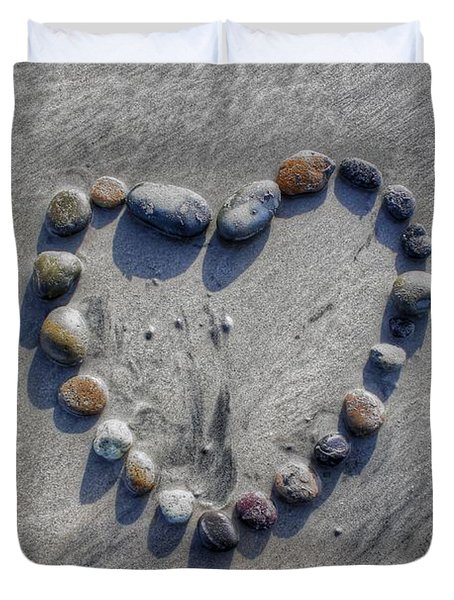 Love On The Rocks Duvet Cover by Jane Linders