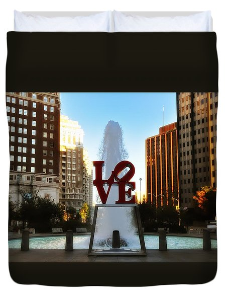 Love Park - Love Conquers All Duvet Cover by Bill Cannon