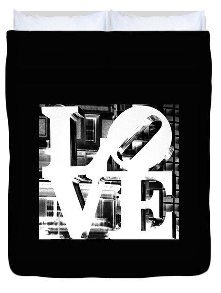 Love Philadelphia White  Duvet Cover
