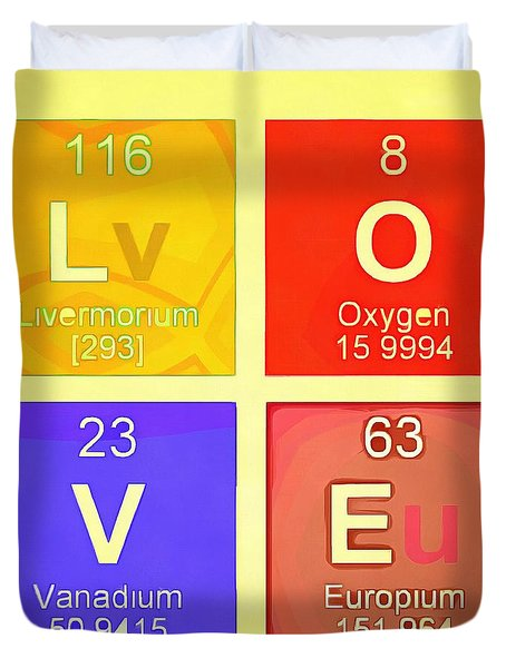 Periodic table duvet covers fine art america love pop art periodic table duvet cover urtaz Image collections