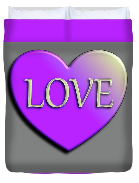 Love Purple And Yellow Duvet Cover