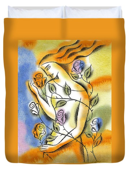 Duvet Cover featuring the painting Love, Roses And Thorns by Leon Zernitsky