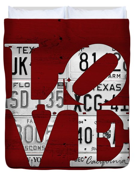 Love Sign Vintage License Plates On Red Barn Wood Duvet Cover by Design Turnpike