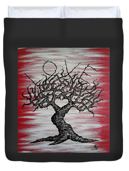 Duvet Cover featuring the drawing Love Tree Art by Aaron Bombalicki