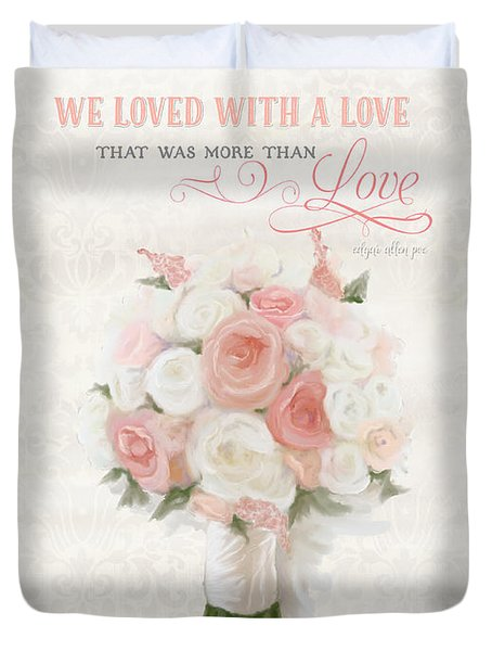 Love Typography Bridal Bouquet Damask Lace Coral Peach Blush Duvet Cover