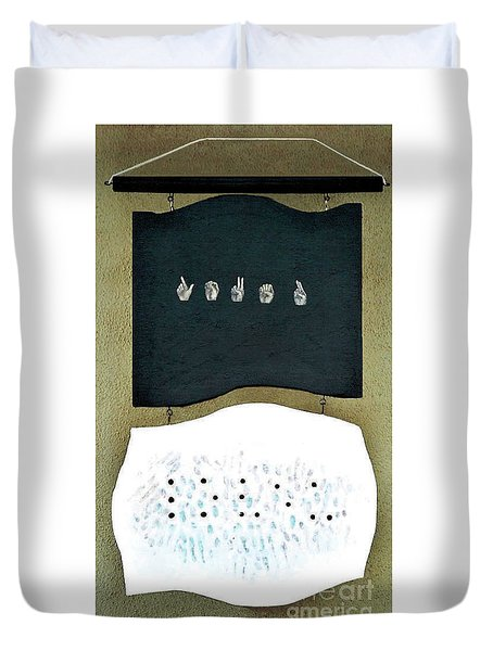 Duvet Cover featuring the painting Love U by Fei A