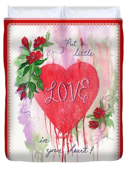 Duvet Cover featuring the painting Love Valentine by Marilyn Smith