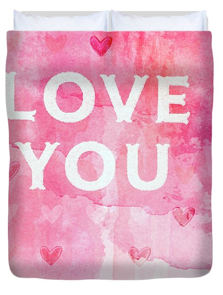 Love You Valentine Romantic Hearts Watercolor Digital Love You Typography Duvet Cover
