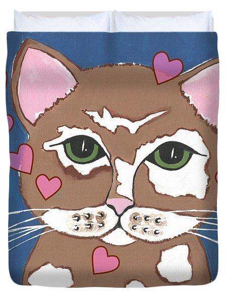 Loveable Cat Duvet Cover by Kathleen Sartoris