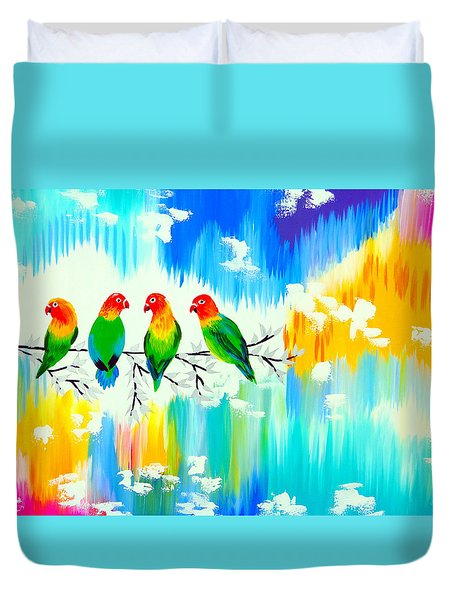 Lovebirds On A Branch Duvet Cover by Cathy Jacobs