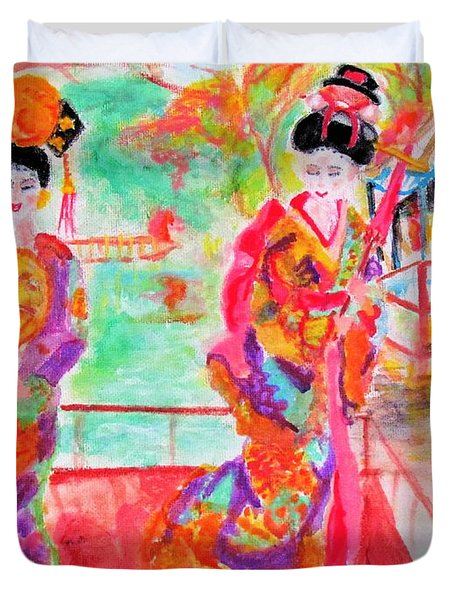 Lovely Asian Ladies Duvet Cover