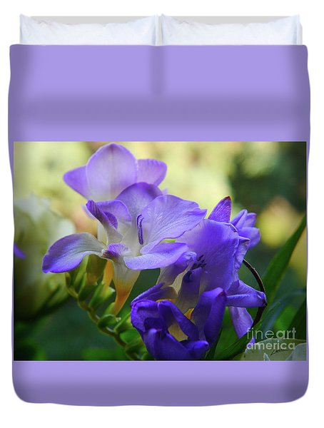 Duvet Cover featuring the photograph Lovely Freesia's by Lance Sheridan-Peel