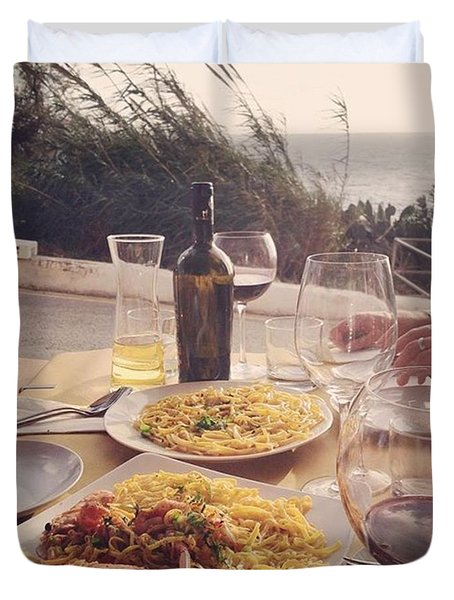 A Seaside Lunch Duvet Cover by Sacha Kinser