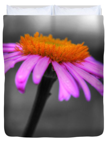 Duvet Cover featuring the photograph Lovely Purple And Orange Coneflower Echinacea by Shelley Neff