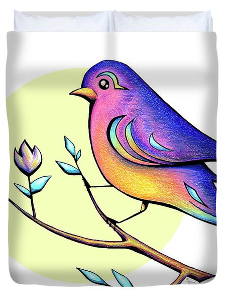 Lovely Spring Day Bird And Flowers Duvet Cover