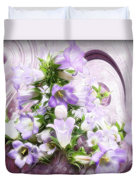 Duvet Cover featuring the mixed media Lovely Spring Flowers by Gabriella Weninger - David