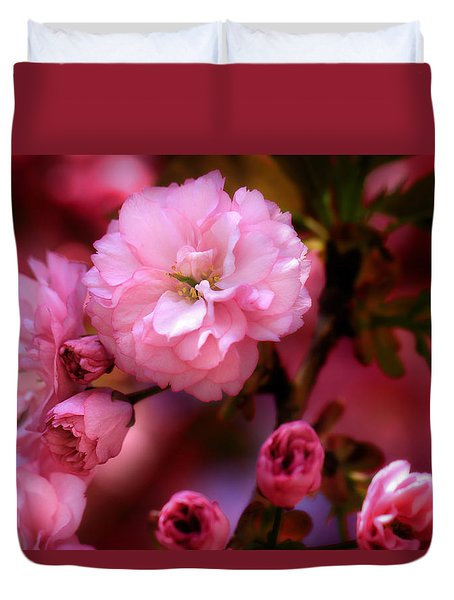 Duvet Cover featuring the photograph Lovely Spring Pink Cherry Blossoms by Shelley Neff