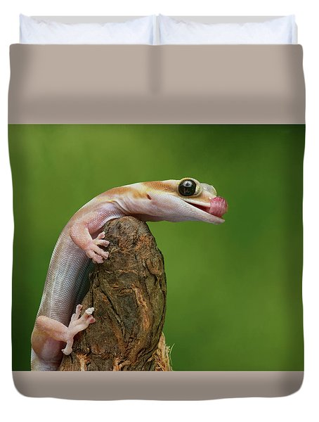 Duvet Cover featuring the photograph Lovely Water - Velvet Gecko by Nikolyn McDonald