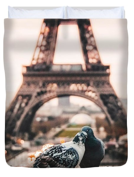 Lover Doves In Paris Duvet Cover