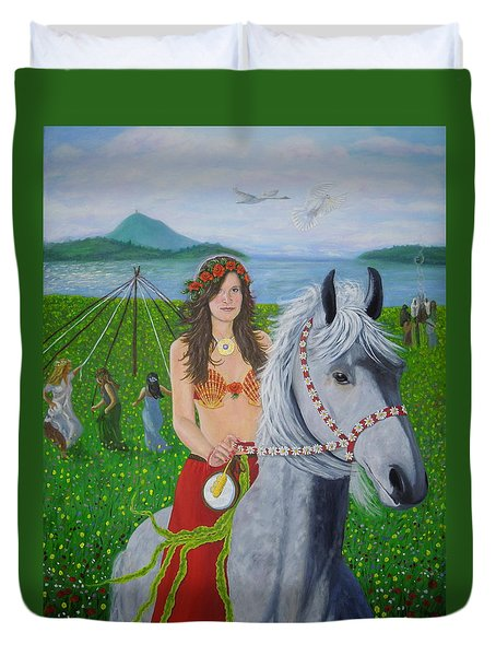 Lover / Virgin Goddess Rhiannon - Beltane Duvet Cover