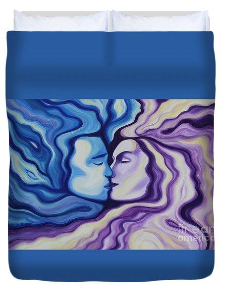 Lovers In Eternal Kiss Duvet Cover by Jindra Noewi