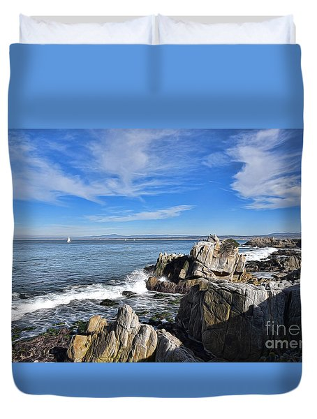 Duvet Cover featuring the photograph Lovers Point Park by Gina Savage