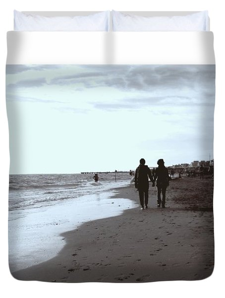 #lovers #walking On The #seashore In Duvet Cover
