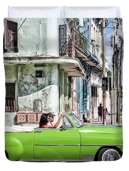 Duvet Cover featuring the photograph Lovin' Lime Green Chevy by Gigi Ebert