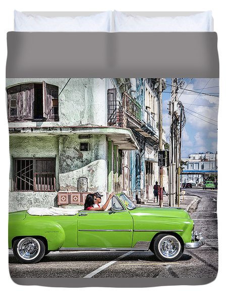 Lovin' Lime Green Chevy Duvet Cover