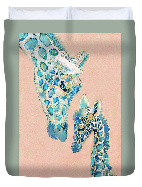 Duvet Cover featuring the digital art Loving Giraffes Family- Coral by Jane Schnetlage