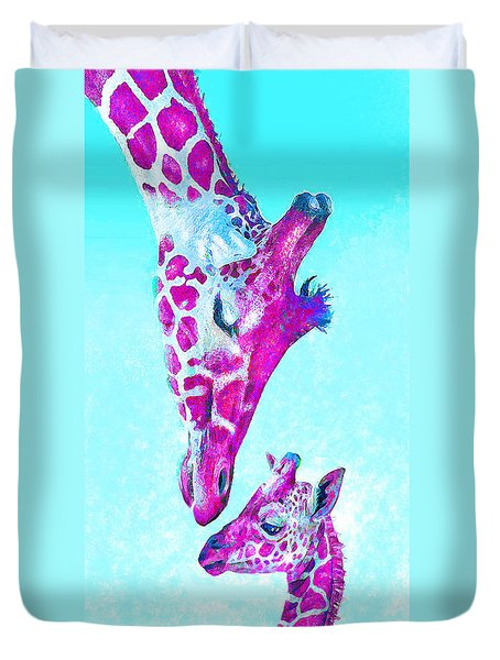Duvet Cover featuring the digital art Loving Giraffes- Magenta by Jane Schnetlage