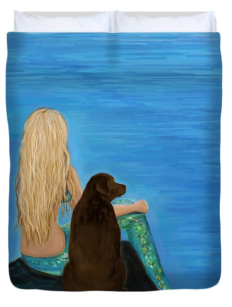 Duvet Cover featuring the painting Loving Lab Loyalty by Leslie Allen