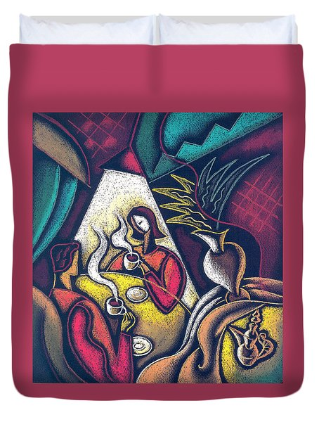 Duvet Cover featuring the painting Loving Relationship by Leon Zernitsky