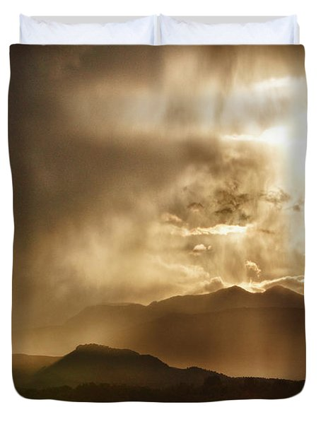 Low Clouds On The Colorado Rocky Mountain Foothills Duvet Cover by James BO  Insogna