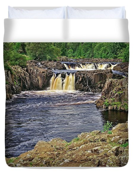 Low Force Waterfall, Teesdale, North Pennines Duvet Cover