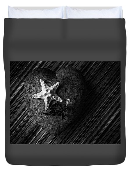 Low Key Heart And Starfish Duvet Cover