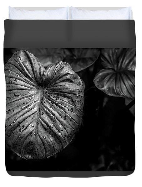 Low Key Nature Background, Textured Plants, Leaves For Decorativ Duvet Cover by Jingjits Photography