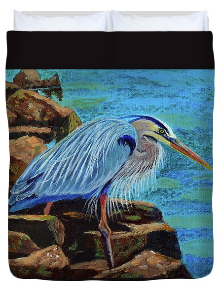 Low Tide Fisherman Duvet Cover
