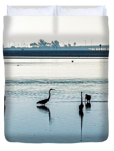 Duvet Cover featuring the photograph Low Tide Gathering by Steven Sparks