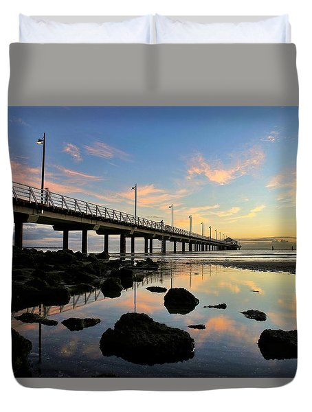 Low Tide Reflections At The Pier  Duvet Cover