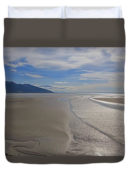 Low Tide As Seen From The Alaska Railroad Duvet Cover by Allan Levin