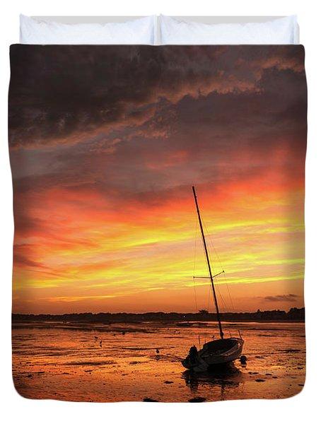 Low Tide Sunset Sailboats Duvet Cover