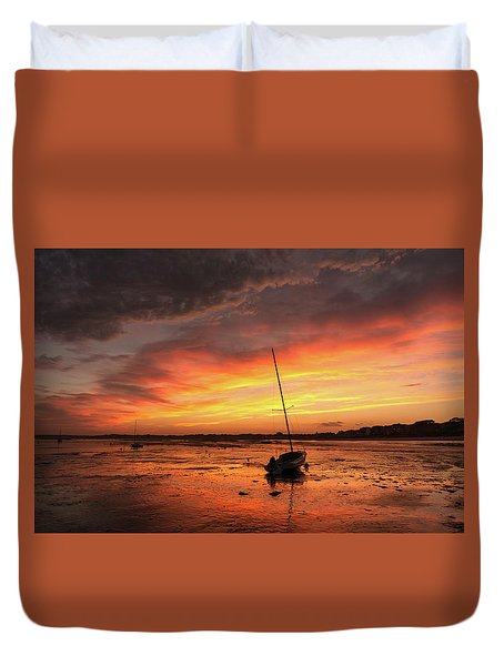 Low Tide Sunset Sailboats Duvet Cover