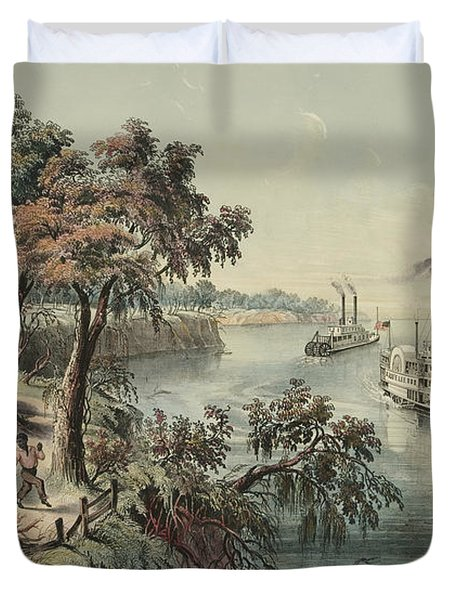 Low Water In The Mississippi, 1868  Duvet Cover