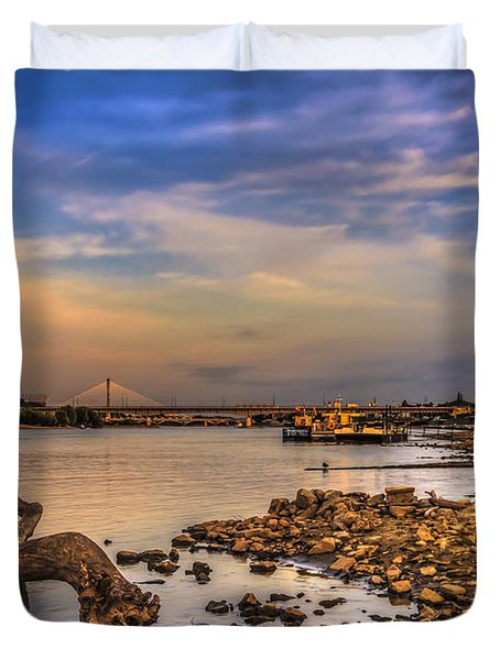 Low Water Vistula Riverscape In Warsaw Duvet Cover